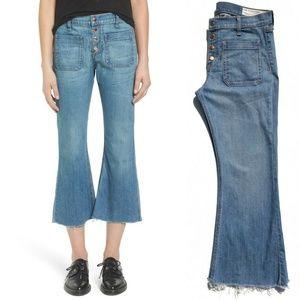 rag & bone High Waisted Raw Hem Cropped Jeans :001